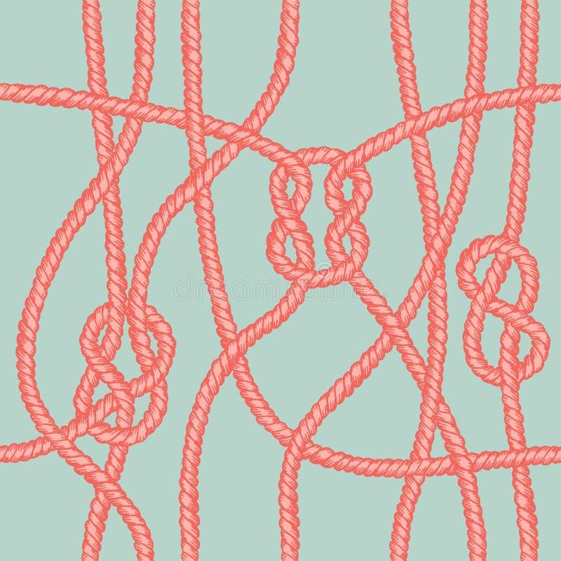 Modelo inconsútil del nudo marino de la cuerda stock de ilustración