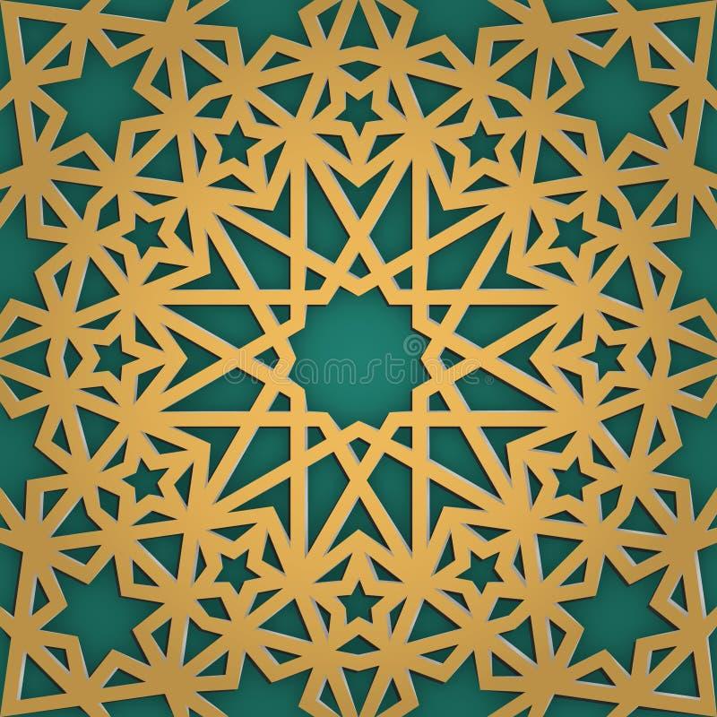 Modelo inconsútil del ornamento árabe Tracery geométrico de Girish Mosaico musulmán al día de fiesta del careem del Ramadán libre illustration