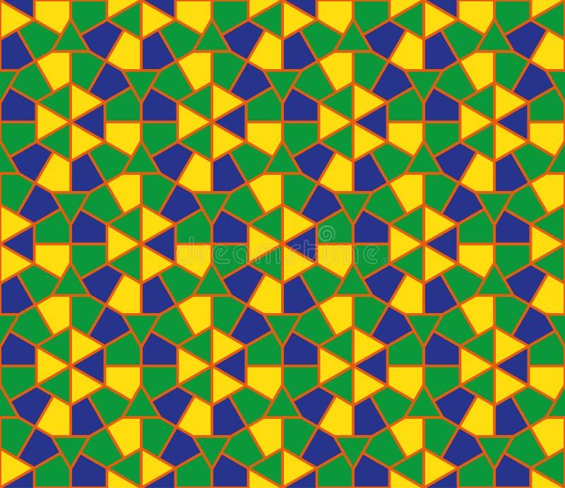 Modelo inconsútil del ornamento colorido redondo árabe Fondo del círculo del mosaico Vector y ejemplo stock de ilustración