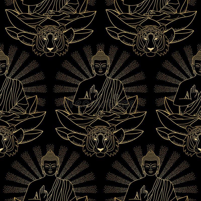 Modelo inconsútil del oro Buda, Lotus y tigre libre illustration