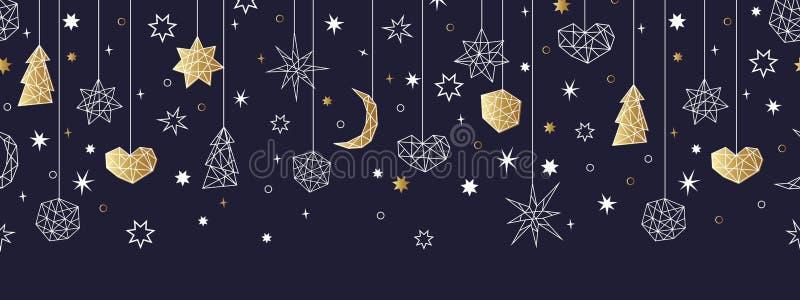 Modelo inconsútil del oro de la Navidad y de la Feliz Año Nuevo imagenes de archivo