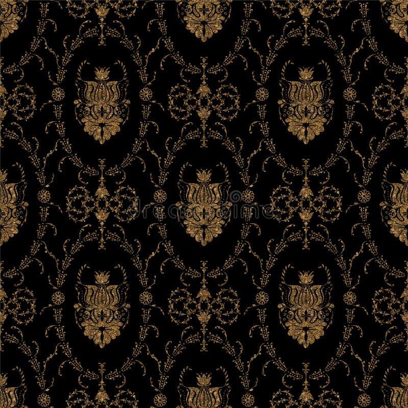 Modelo inconsútil del oro geométrico del ornamento Elegante barroco de oro ilustración del vector