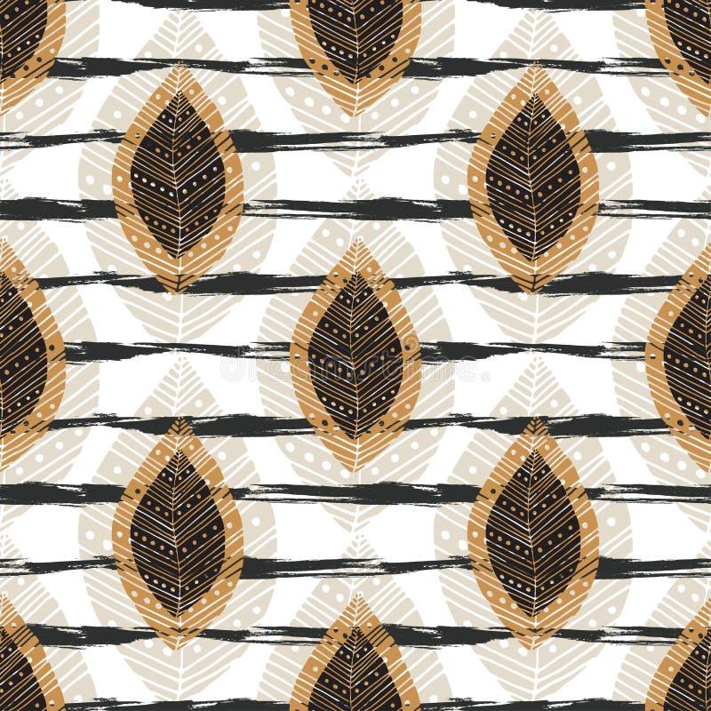 Modelo inconsútil del otoño con las hojas modernas en textura de las rayas Impresión de la materia textil del vector, diseño de l stock de ilustración