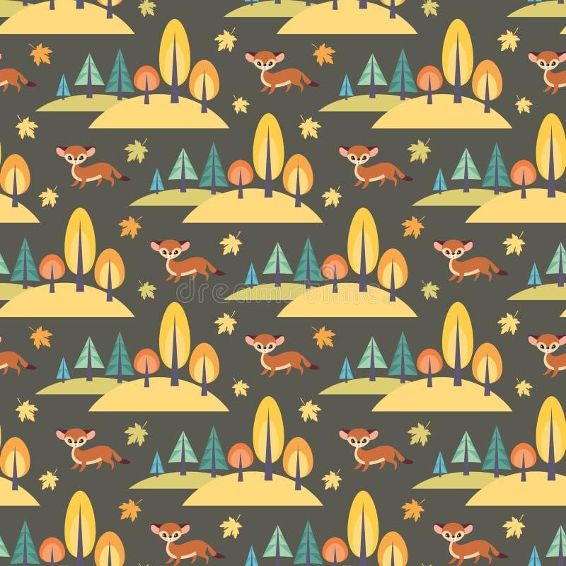 Modelo inconsútil del otoño con los animales lindos del bosque libre illustration