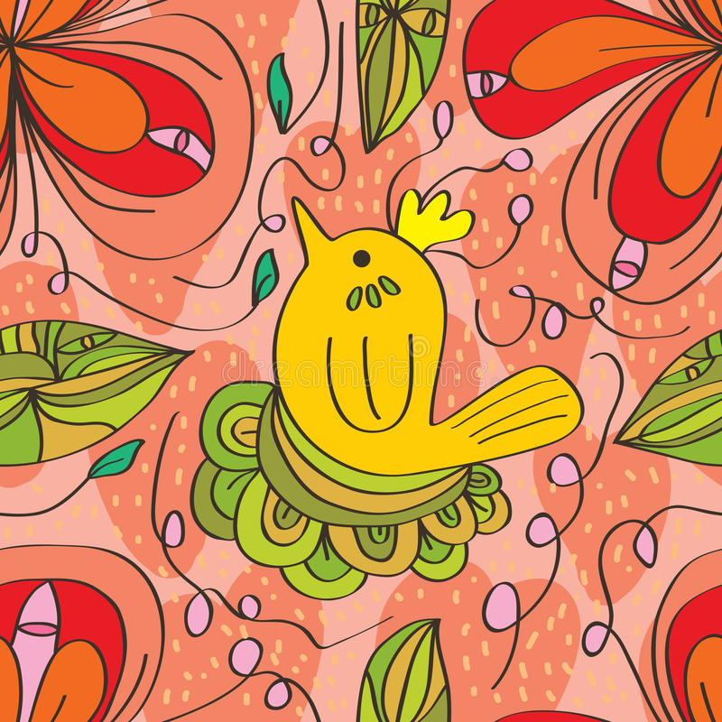 Modelo inconsútil del pájaro del remolino de la flor stock de ilustración