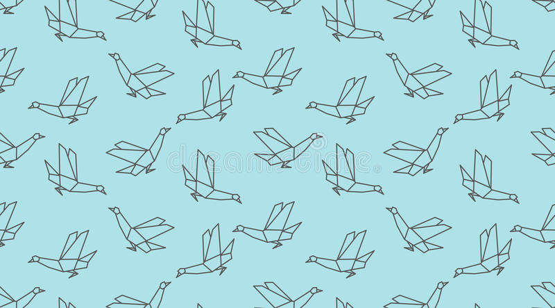 Modelo inconsútil del pájaro linear de la paloma de la papiroflexia en fondo azul libre illustration