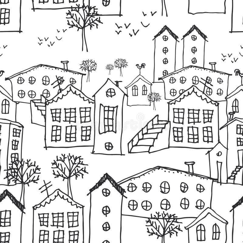 Modelo inconsútil del paisaje urbano del invierno bosquejo fondo a mano blanco y negro para el papel pintado, terraplenes de mode stock de ilustración