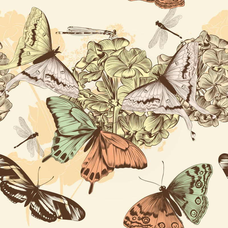 Modelo inconsútil del papel pintado del vector con las mariposas en el st del vintage stock de ilustración