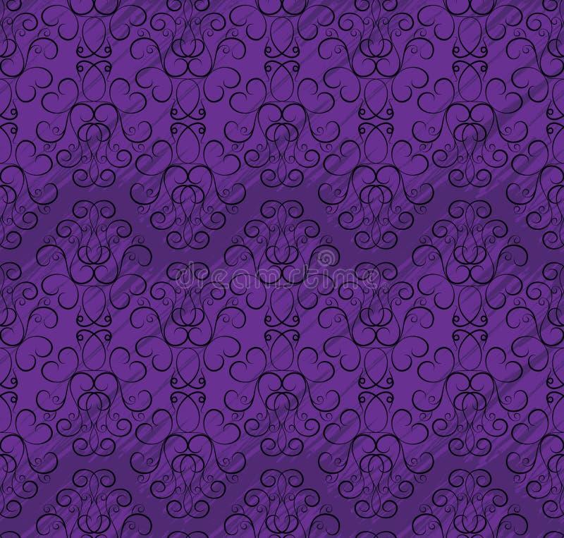 Modelo inconsútil del papel pintado en cortinas de la púrpura stock de ilustración