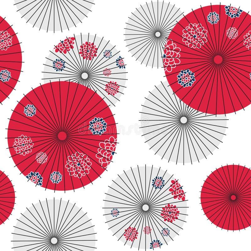Modelo inconsútil del paraguas japonés ilustración del vector