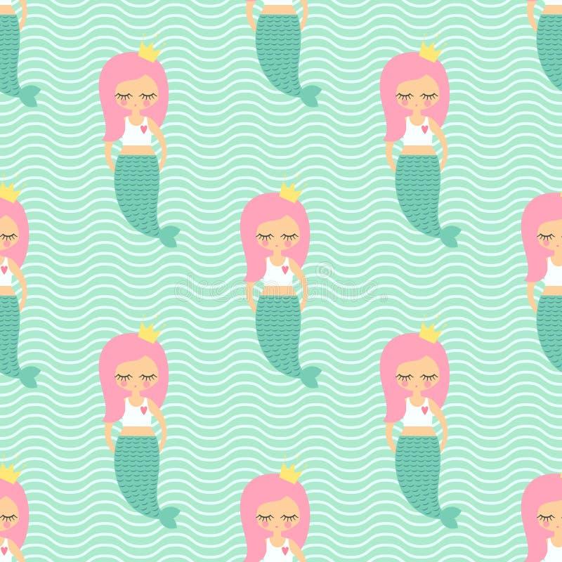 Modelo inconsútil del pelo de la muchacha rosada linda de la sirena en fondo de las ondas de verde menta ilustración del vector