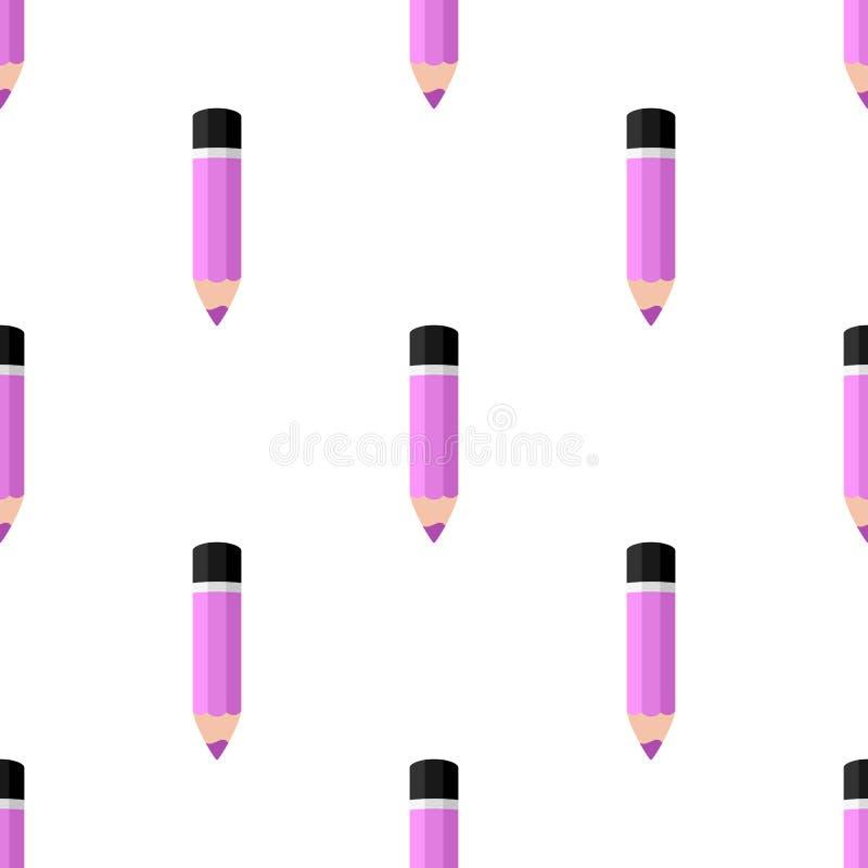 Modelo inconsútil del pequeño icono rosado del lápiz stock de ilustración
