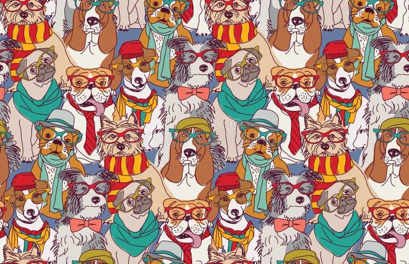 Modelo inconsútil del perro del inconformista lindo de la moda stock de ilustración