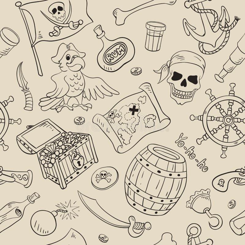 Modelo inconsútil del pirata ilustración del vector