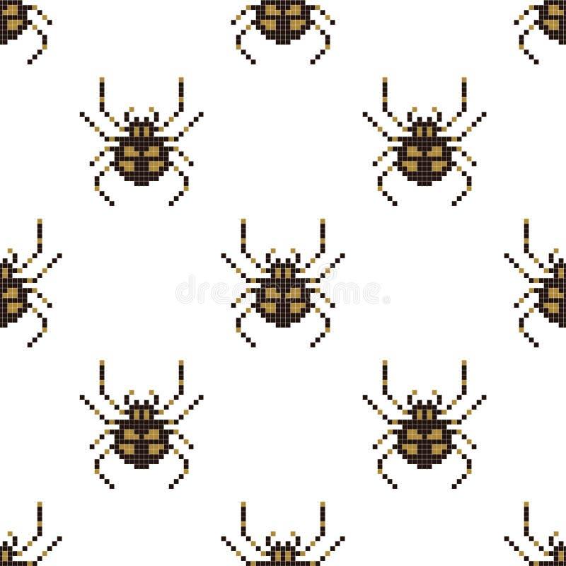 Modelo inconsútil del pixel con la araña mordida 8 Ilustraci?n del vector libre illustration