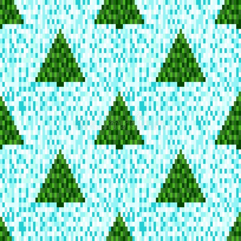 Modelo inconsútil del pixel con los árboles de navidad stock de ilustración