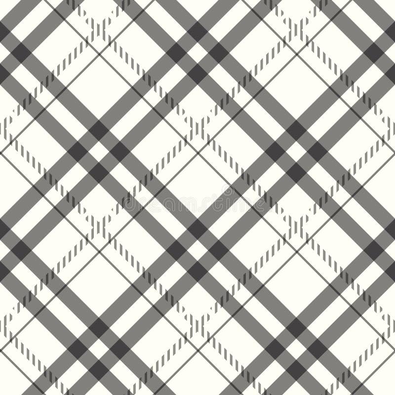 Modelo inconsútil del pixel de la tela escocesa blanca negra gris del control Ilustración del vector stock de ilustración