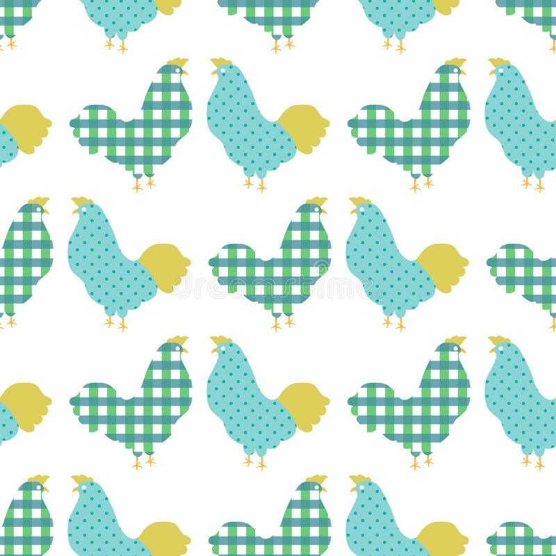 Modelo inconsútil del pollo dulce ilustración del vector