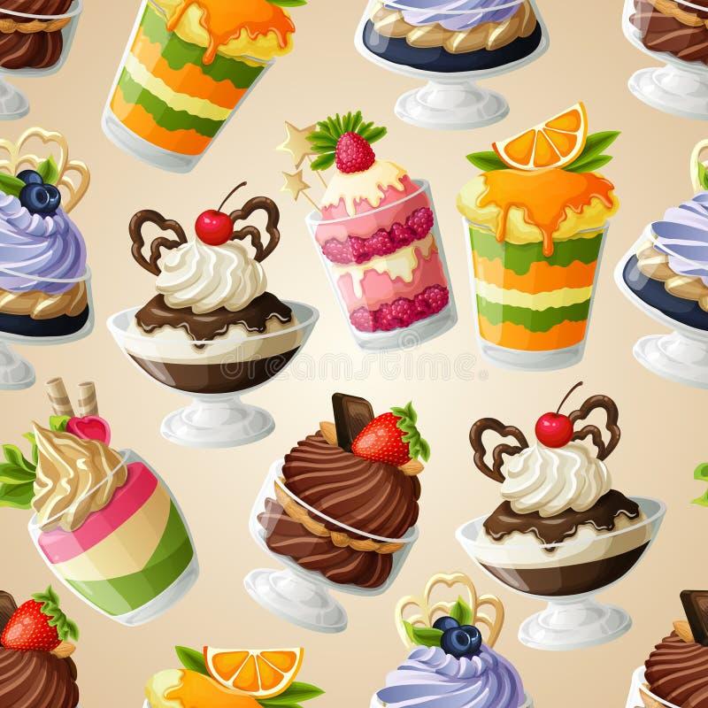 Modelo inconsútil del postre de los dulces ilustración del vector