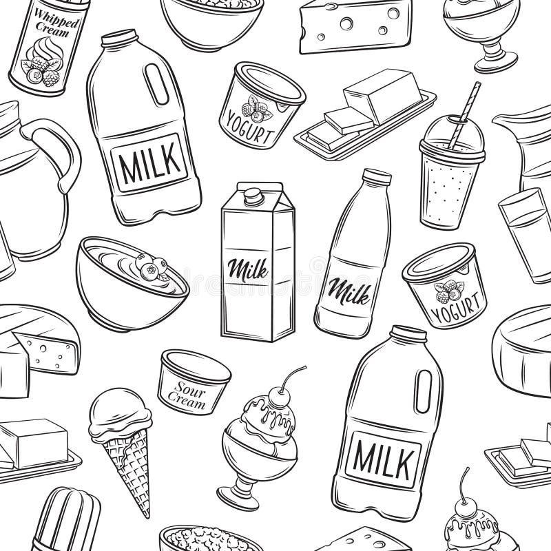 Modelo inconsútil del producto lácteo stock de ilustración