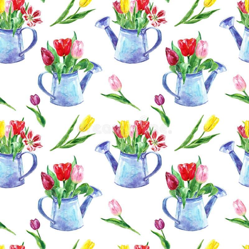 Modelo inconsútil del ramo hermoso de los tulipanes en el fondo blanco Flores coloridas en una regadera rústica Impresi?n floral  stock de ilustración