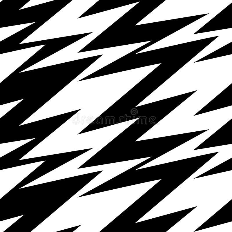 Modelo inconsútil del relámpago abstracto blanco y negro stock de ilustración