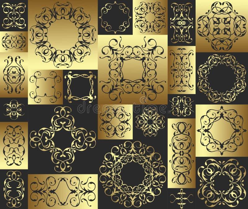 Modelo inconsútil del remiendo con los elementos del vintage ilustración del vector