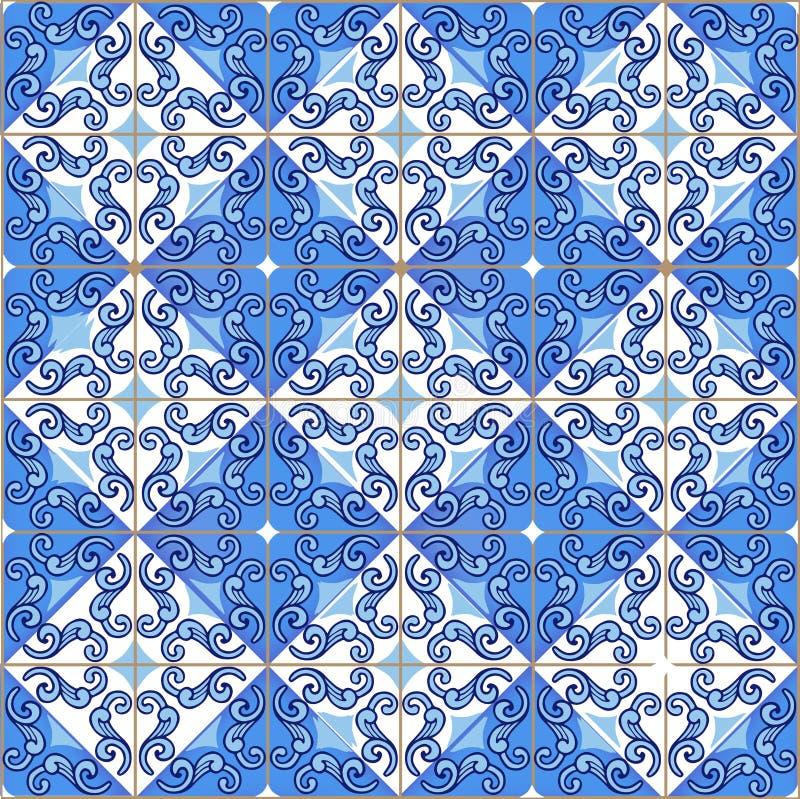 Modelo inconsútil del remiendo de las tejas marroquíes, portuguesas en colores azules El ornamento decorativo se puede utilizar p ilustración del vector
