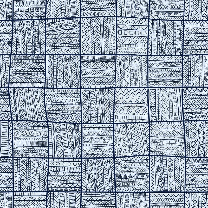 Modelo inconsútil del remiendo Ornamento azul elegante Tribal y ilustración del vector