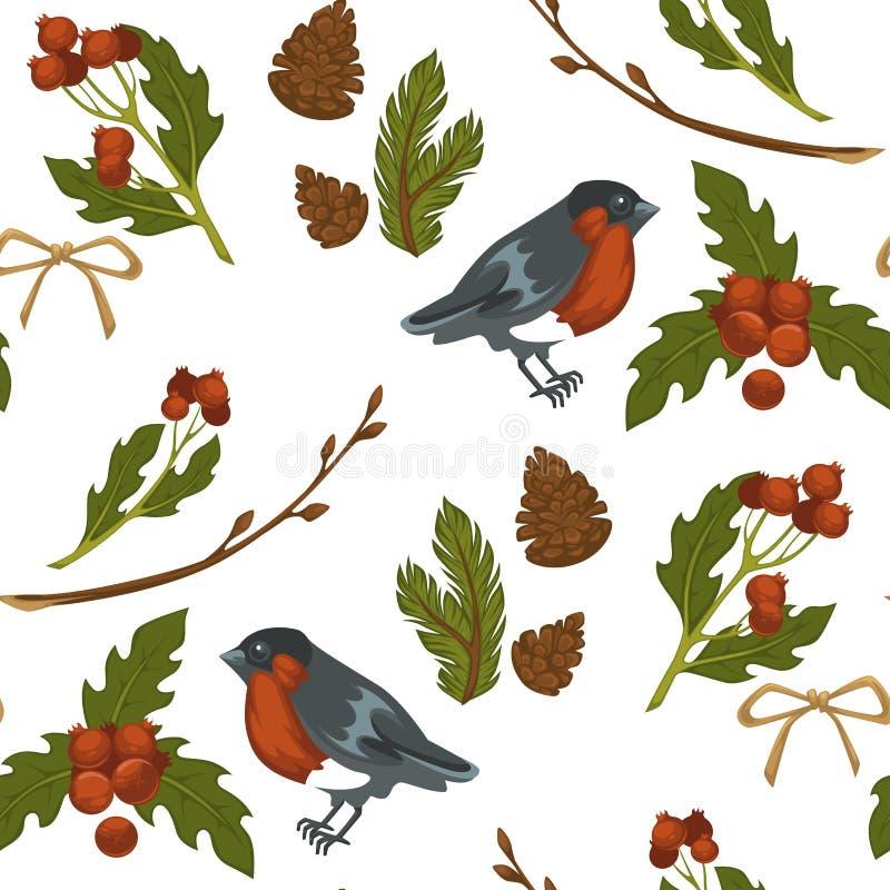 Modelo inconsútil del símbolo del pájaro y del muérdago del piñonero de la Feliz Navidad aislado en el vector blanco del fondo stock de ilustración