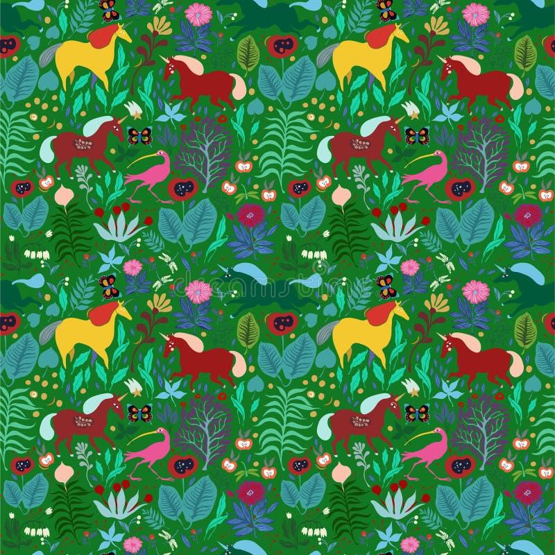 Modelo inconsútil del ` s de los niños con un bosque mágico y unicornios ilustración del vector