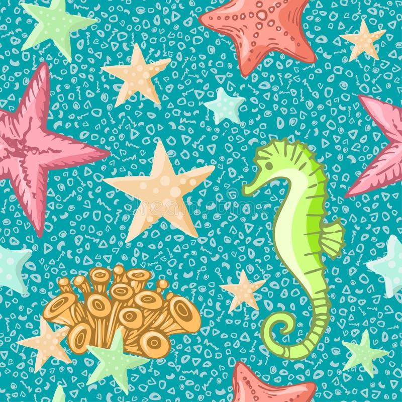 Modelo inconsútil del Seahorse y de las estrellas de mar en fondo azul Fondo del verano de la vida marina Fondo lindo de la vida  stock de ilustración