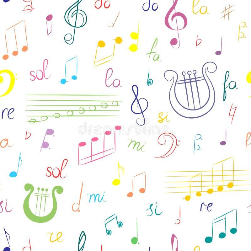 Modelo inconsútil del sistema dibujado mano de símbolos de música Clave de sol, Bass Clef, notas y lira coloridos del garabato Es ilustración del vector
