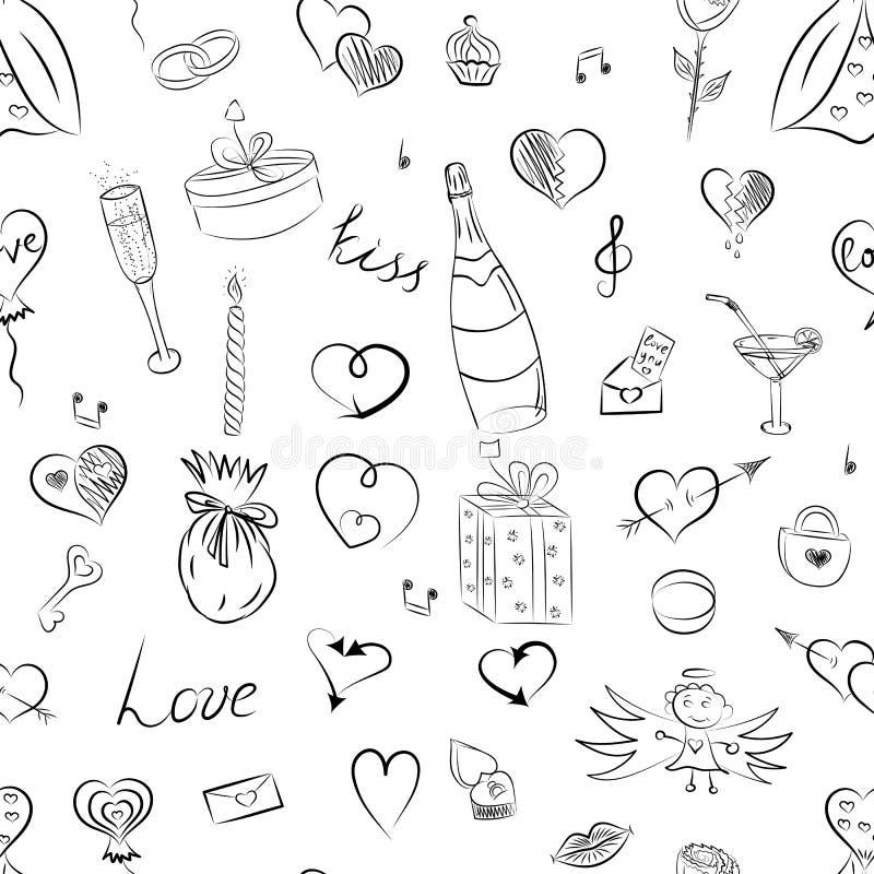Modelo inconsútil del sistema dibujado mano de símbolos del día del ` s de la tarjeta del día de San Valentín Dibujos divertidos  ilustración del vector