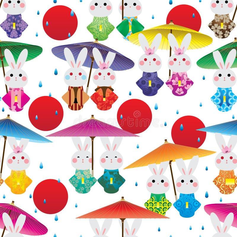 Modelo inconsútil del sol rojo de la gota de lluvia del paraguas del kimono del conejo de Japón ilustración del vector