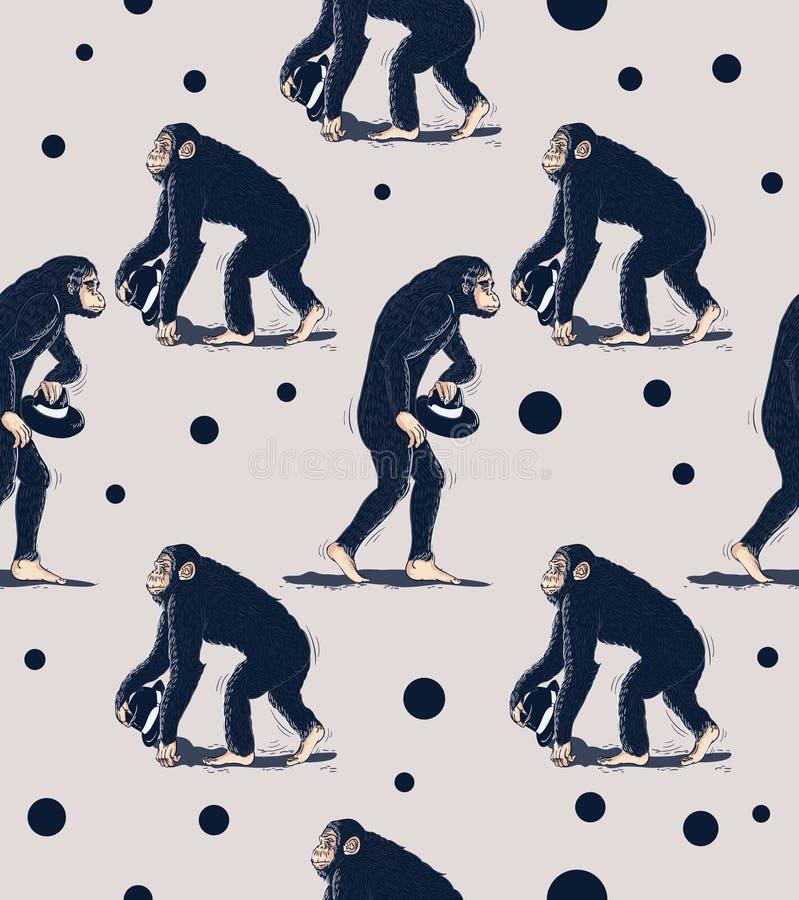 Modelo inconsútil del sombrero de la tenencia del mono del chimpancé ilustración del vector