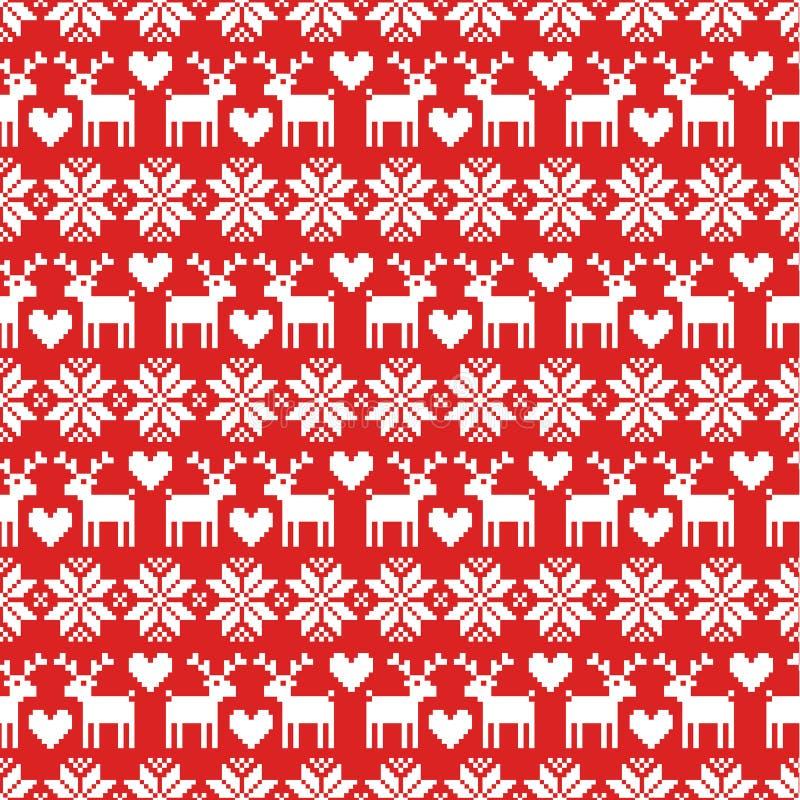 Modelo inconsútil del suéter de la Navidad del vector con los ciervos en fondo rojo libre illustration