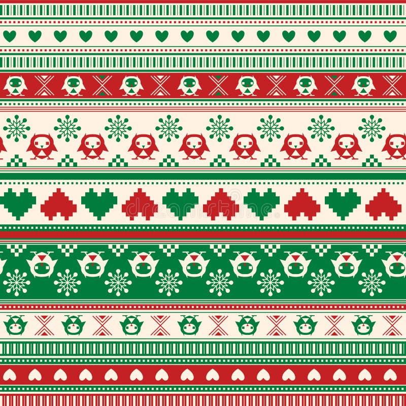 Modelo inconsútil del suéter del invierno con los corazones y los búhos. Rojo-verde libre illustration