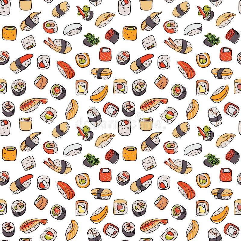 Modelo inconsútil del sushi stock de ilustración