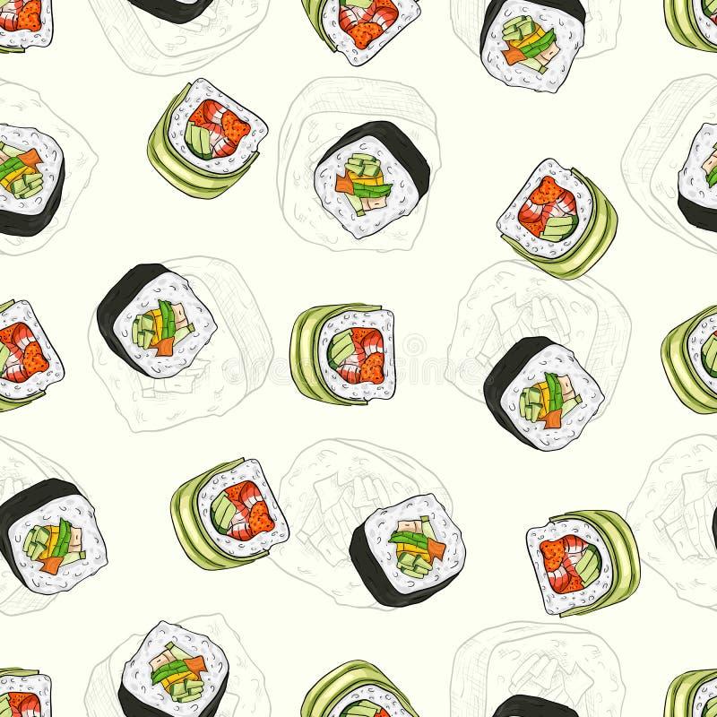 Modelo inconsútil del sushi ilustración del vector