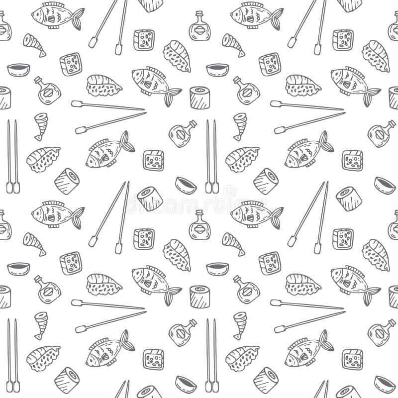 Modelo inconsútil del sushi y de los rollos Textura del sushi Sket dibujado mano libre illustration