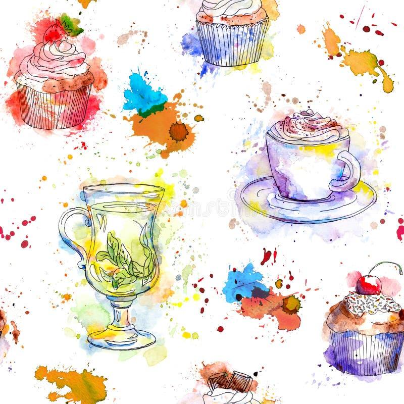 Modelo inconsútil del té de la acuarela - taza de las magdalenas, del té y de café stock de ilustración