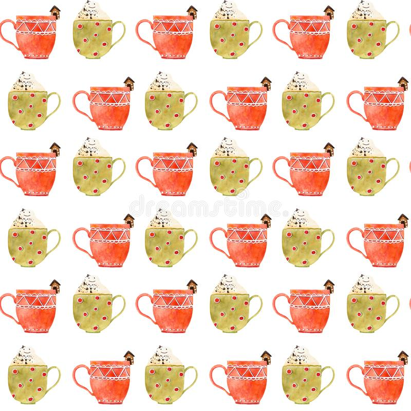 Modelo inconsútil del té o del café de la Navidad de la acuarela stock de ilustración