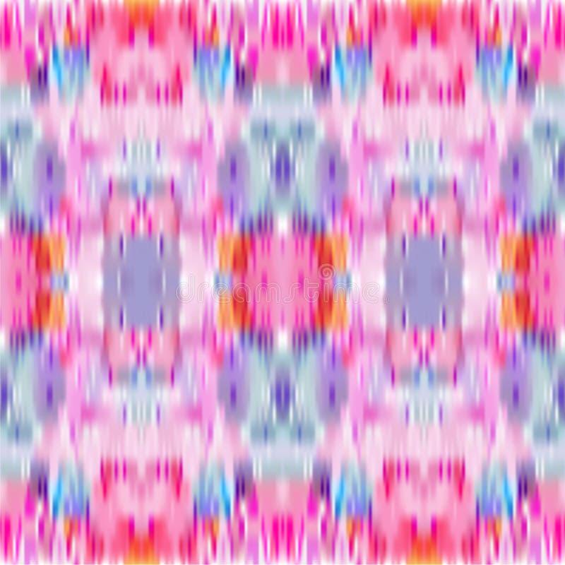 Modelo inconsútil del teñido anudado Fondo del ikat del vector Impresión abstracta coloreada pastel stock de ilustración