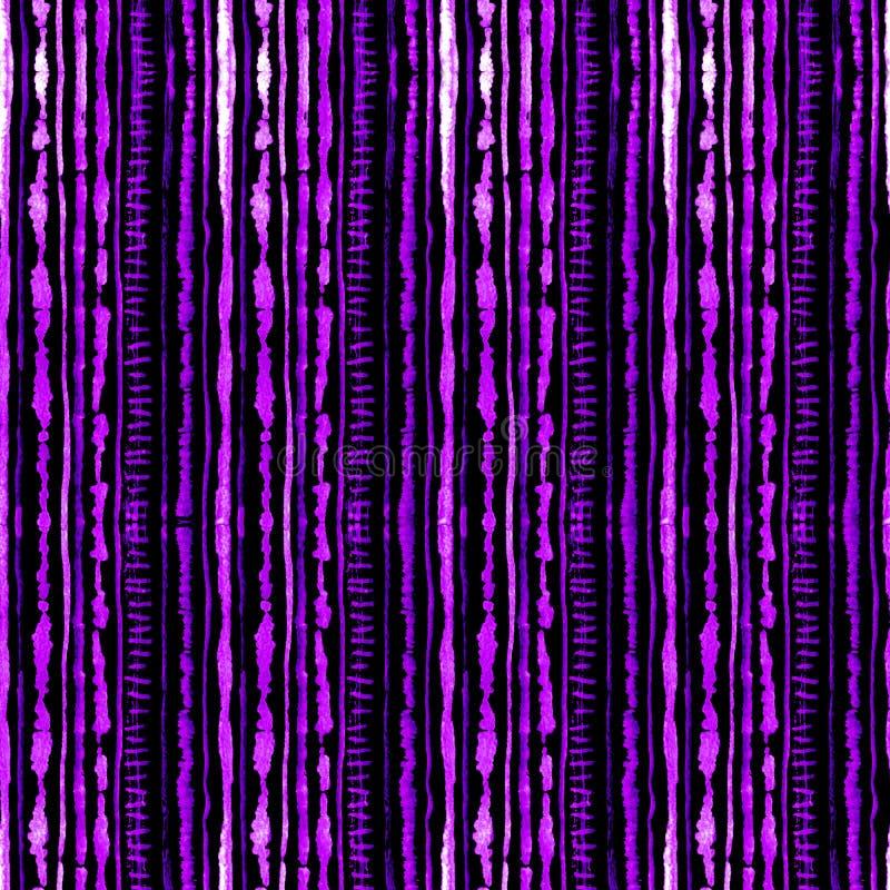 Modelo inconsútil del teñido anudado del shibori del watercolour del color de la lila en la seda negra Telas de la pintura de la  stock de ilustración