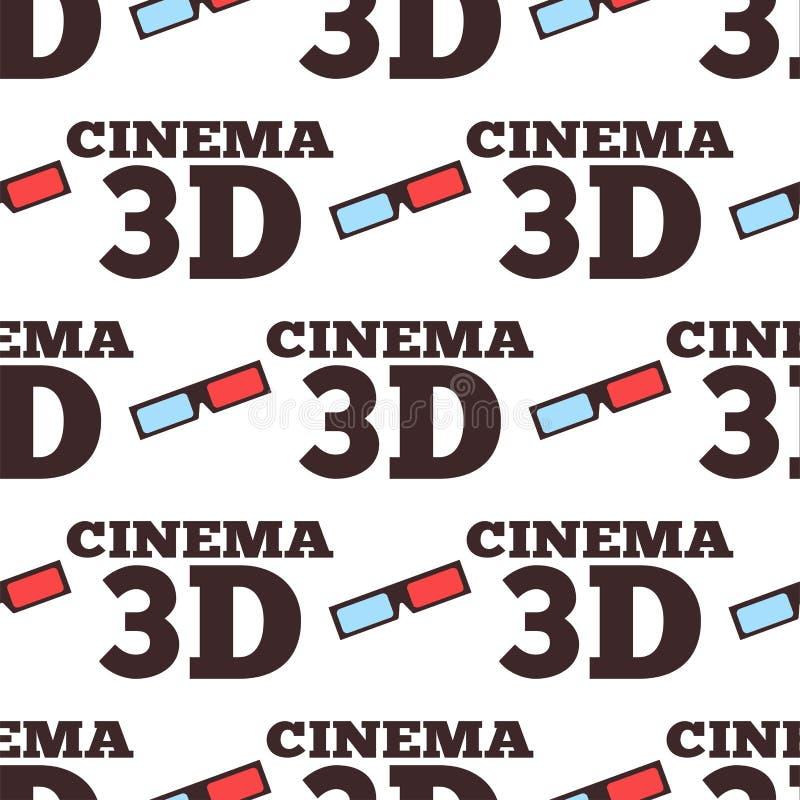 Modelo inconsútil del teatro de la ciudad del entretenimiento de la película del ejemplo del vector del cine 3d stock de ilustración