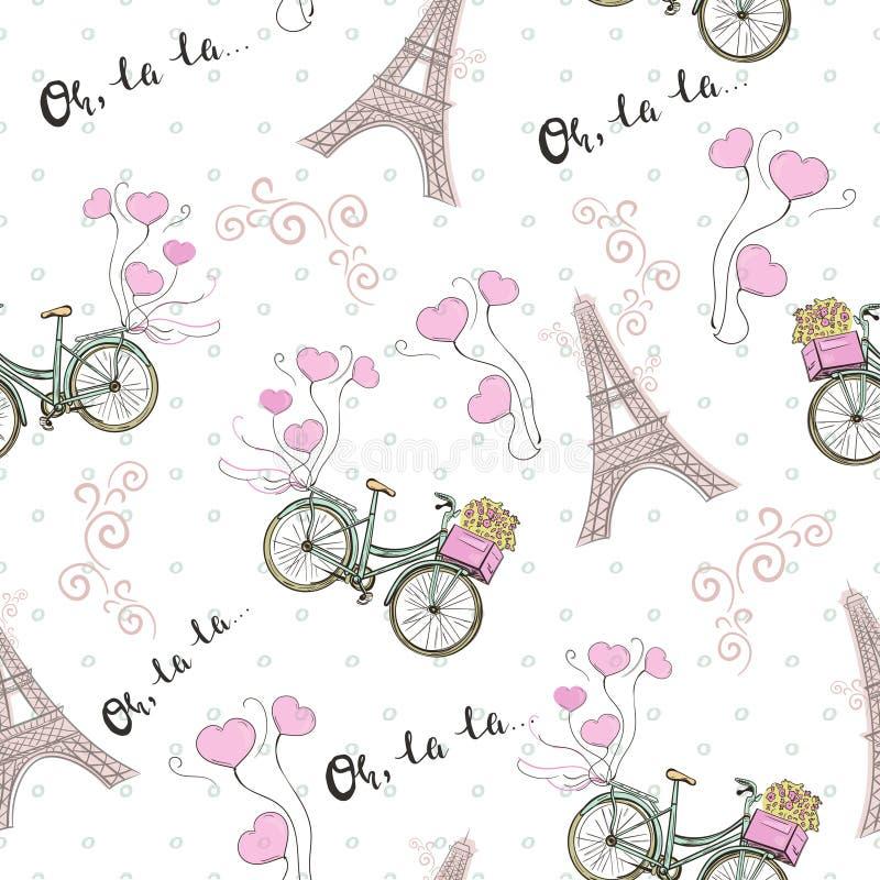 Modelo inconsútil del tema de París con la bicicleta y la torre Eiffel libre illustration