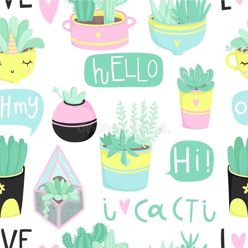 Modelo inconsútil del tema lindo del verano con los cactus libre illustration