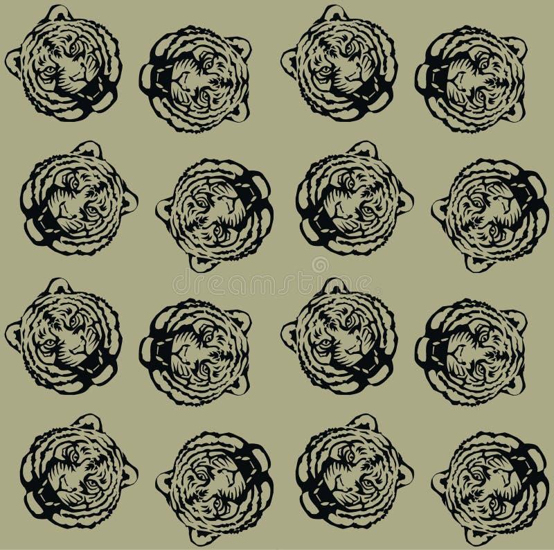 Modelo inconsútil del tigre stock de ilustración