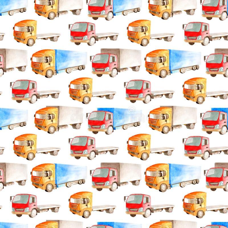 Modelo inconsútil del transporte de diversos colores, formas y tipos de camiones y de furgonetas ilustración del vector
